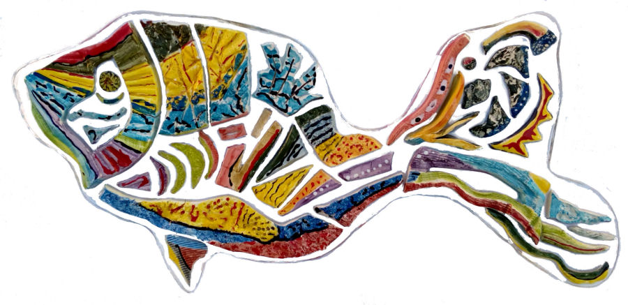 rainbow fish pesce decorativo casa moderna