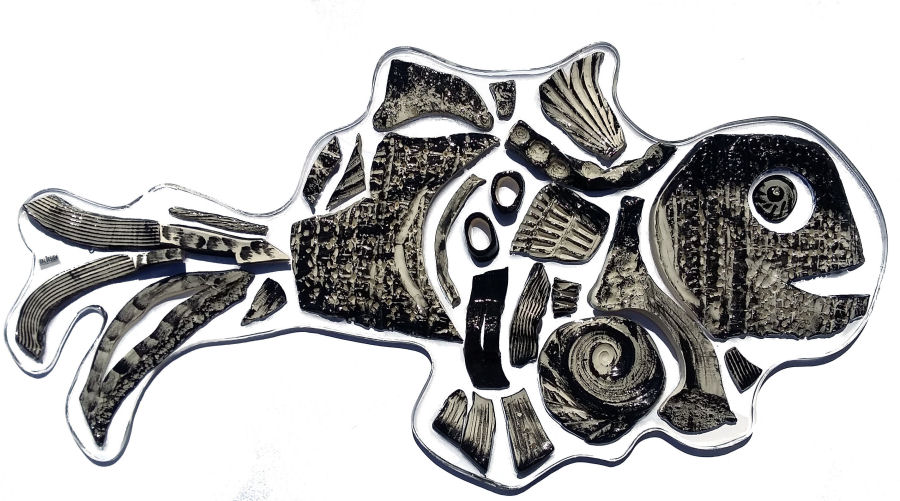 pesce preistorico italdesignfogliaro arredare black and white